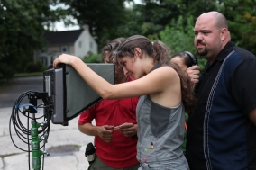 On Set of 'Surviving Family' - Laura Thies