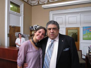 On Set of 'Surviving Family' - Laura Thies, Vincent Pastore
