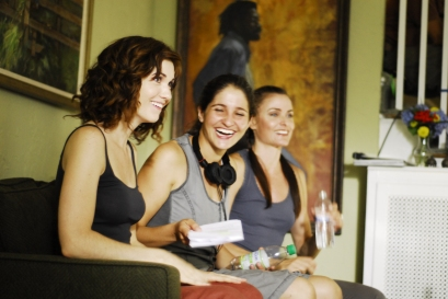 On Set of 'Surviving Family' - Sarah Wilson, Laura Thies, Tara Westwood